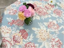 Oilcloth fabric, PVC coated, Shabby Chic floral fabric, Duck Egg,  Per Meter