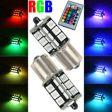 2x RGB Wireless Control 1156 5050 27LED Decoration DRL Fog Light Bulbs+Remote