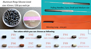 200-250 Pcs Micro Ring Beads 10 Colors Hair I-tip Extension Tool Kit+Loop+Needle