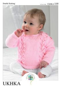 "UKHKA 119 Baby Cardigan/Sweater/Hat Knitting Pattern In DK  12-20"" (31-51 cm)"