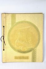 Vintage 1920s VIKING SHIP Scrapbook Photo Album Beige Leather Embossed 12x14