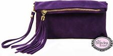 ladies Italian vera pelle suede tassel leather clutch bag wrist shoulder