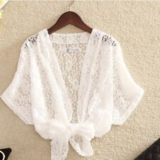 Women Lace Wrap Cropped Cardigan Shrug Bolero Floral Hollow Out Coat Jacket New