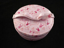 Playboy Bunny Logo Small Pink Circular Vanity Case / Jewellery Box with Mirror