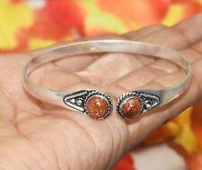 Bracelet 925 Silver Overlay U287-A109 Goldstone Gemstone Adjustable Cuff Bangle