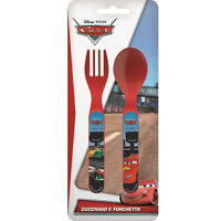 Disney Cars Lightning McQueen 2pc Mealtime Plastic Cutlery Set | Fork and Spoon