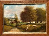 Antique oil Painting on canvas, Rural  Landscape, Signed, framed