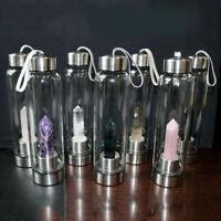 Natural Quartz Crystal Point Healing Obelisk Wand Glass Gem Elixir Water Bottle