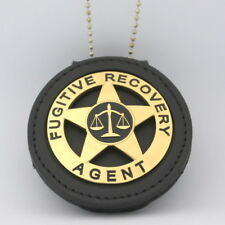 Fugitive Recovery Agent  Leather Holder Belt Clip  Gold Plating ROUND badge