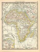1889 Antique AFRICA Map Beautiful Original Vintage Map of Africa 6435