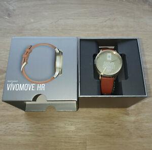 Ungetragene Garmin vívomove® HR * Hybrid-Smartwatch * Premium * br. Lederarmband