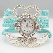 Crystal Wing Leather Bracelet Watch