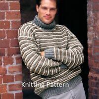 (857) Man's Sweater Copy Knitting Pattern, Easy Knit Design in Aran, 30-44 inch