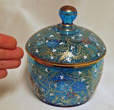 Blue MOSER Bohemian Glass Enamel Czech Trinket Dresser Covered Powder Vanity Box