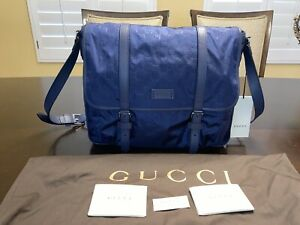 New Gucci Nylon Leather Large GG Guccissima Blue Messenger Bag