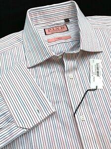 Thomas Pink Classic Fit Red/White/Blue Striped Cotton Dress Shirt 16.5 x 36.5