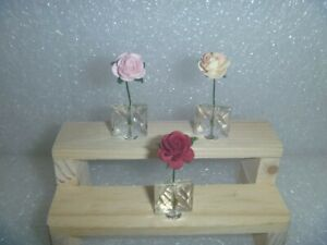 Set of 3 Single Roses in Clear Vases~*~3 Colors
