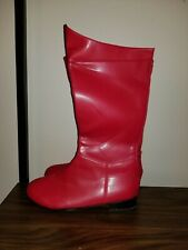 Red Mens Superhero Knee High Boots Halloween Costume Shoes size 10