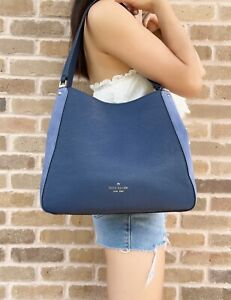 Kate Spade Leila Suede Medium Triple Compartment Shoulder Bag Blue Leather