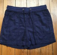 Navy Blue Linen Shorts Ex Marks and Spencer New