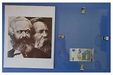 MARX ENGELS, Russia URSS Comunismo Germania: quadro cornice vetro cm 30x24