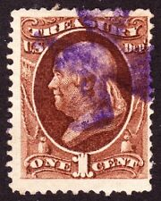 US O72 1c Treasury Department Official Used w/ Violet Iron Cross Cancel Fine