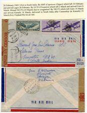 AIRMAIL WW2 CENSORED KARACHI ATLANTIC CLIPPER via EGYPT LAGOS INDIA DUMB CANCELS