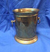 19109 Vintage Mid Century Brass Handled Planter / Champagne Bucket ~ Ornate