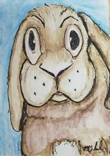 Cute Easter Bunny Aceo Original Mixed Media Art Card Painting Signed Schneider