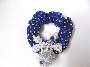 Holiday Girl's Hair Tie - Blue/Silver Color w/Glitter Reindeer