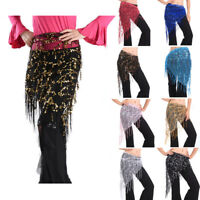 New Belly Dance Costume Tribal Triangle Sequins Tassel Hip Scarf Wrap Skirt Belt