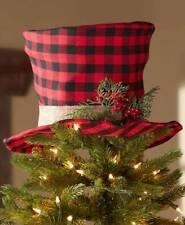 FESTIVE BUFFALO PLAID TOP HAT TREE TOPPER CHRISTMAS HOLIDAY HOME DECOR