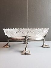 Magnificent Silver Plated Jardiniere W/ Original Crystal Inserts