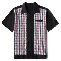 Mens Clothes Retro Plaid Bowling Shirt Short Sleeve Cotton Rockabilly Clothing