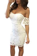 White Off Shoulder Lace Bodycon Dress Club Wear Fashion Evening Wear Size M
