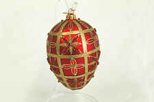 Vintage Glitter Red & Gold Ball Christmas Ornament Holiday Tree Decoration 5x3.5