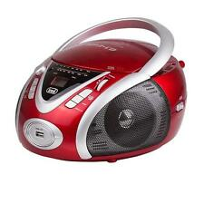 RED PORTABLE GHETTOBLASTER CD PLAYER RADIO TUNER USB MP3 COMPACT BOOMBOX NEW