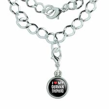 Silver Plated Bracelet with Antiqued Charm I Love My Dog E-K