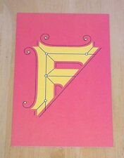 JESSICA HISCHE TYPOGRAPHIC POSTCARD ~ DAILY DROP CAPITAL LETTER F ~ RED ~ NEW