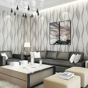 Modern Beige Wave Stripe Silver Glitter Textured Vinyl Thick Feature Wallpaper