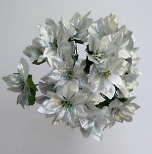 Artificial Flowers - 3 x Artificial Silver Poinsettia Bunches Christmas Craft