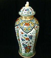 """Delft 12 1/2"""" Vintage Petrus Regout Polychrome Lidded Ginger Jar - Very Nice"""