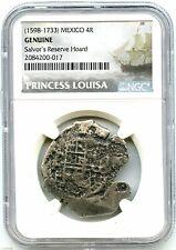 1650 4-Reales Silver Spanish Coin, Princess Louisa Shipwreck NGC Graded Genuine!