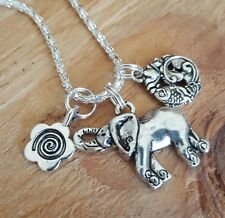 Good Life Karma Lotus Flower Fish Spiral Ganesh Elephant Silver Necklace  16""