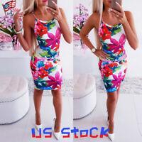Women Dress Summer Sleeveless Halter Bodycon Mini Skirt Party Floral Slim Fit US