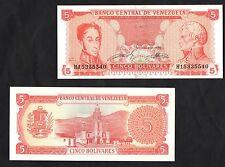 VENEZUELA 5 Bolivares Banknote UNC BANCONOTA PERFETTA 1989 FIOR DI STAMPA