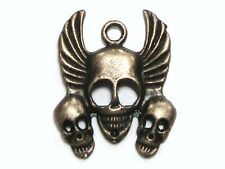 2 x 32mm Antique Bronze Skull Pendant Gothic Ghoul Halloween Charms L132