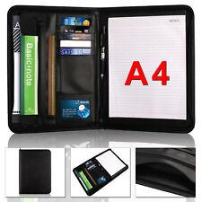 A4 Zipped Document Conference Folder Portfolio Organiser Executive PU Leather UK