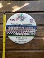 "ATLANTA BRAVES 1991 World Series Champions Large Pin Button Team Photo 6"""