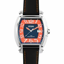 Vetania Manhattan Swiss Quartz Orange and Black Dial Leather Watch 4961313